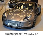 TORONTO-FEBRUARY 16: The $1,5 million Aston Martin One-77 on display at the 2012 Canadian International Auto Show on February 16, 2012 in Toronto, Canada. - stock photo