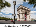 arc de triomphe with lamppost... | Shutterstock . vector #95373439