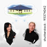 Young couple and their dream about a family house. - stock photo