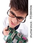 Computer Engineer, isolated over white background - selective focus on motherboard - stock photo