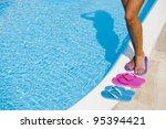 female legs with colorful... | Shutterstock . vector #95394421