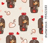 Japan doll seamless pattern - stock vector