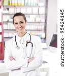 at pharmacy. a smiling young... | Shutterstock . vector #95424145