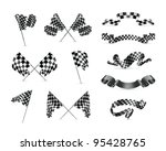 vector checkered flags  set | Shutterstock .eps vector #95428765
