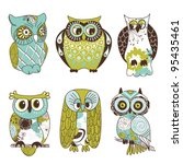 collection of six different owls | Shutterstock .eps vector #95435461