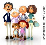 3d Family Looking Happy  ...