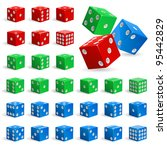 Set Of Color Realistic Dice....