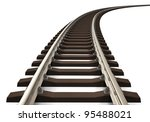 Single Curved Railroad Track...