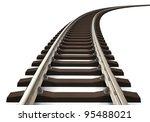 Single Curved Railroad Track...