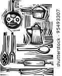 A mixed set of pots, pans, forks and spoons for the kitchen. - stock vector
