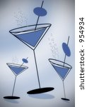 Stylised Martini Glasses With...