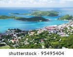 Aerial view of the island of St Thomas, USVI. Charlotte Amalie - cruise bay. - stock photo