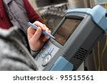 the maintenance of telecom line ...   Shutterstock . vector #95515561
