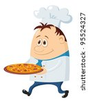 Cook, cartoon chef with pizza isolated over a white background. Vector