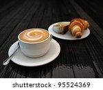 cappucino and croissant - stock photo