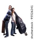 young musicians with double bass and violin in bags - stock photo