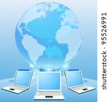Laptop computers connected via world globe network internet computing concept - stock photo