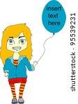 cute girl with balloon... | Shutterstock .eps vector #95539231