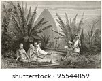 Small photo of Tribal chief dwelling near Kanala, New Caledonia. Created by Moynet after photo by unknown author, published on Le Tour Du Monde, Paris, 1867