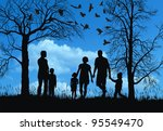 young family in autumn park | Shutterstock . vector #95549470