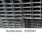 A Stack of Steel Framing - stock photo