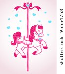 Vector Cute Cartoon Carousel...