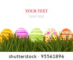 the colorful painted easter eggs | Shutterstock . vector #95561896