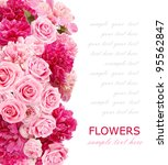 Stock photo background with peonies and roses isolated on white with sample text 95562847
