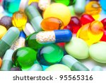 many colorful pills | Shutterstock . vector #95565316