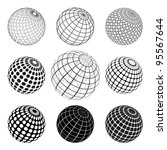 set of black and white globe | Shutterstock . vector #95567644