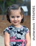 little girl stops in her...   Shutterstock . vector #95569081