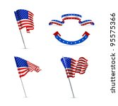 american flags  vector set | Shutterstock .eps vector #95575366