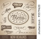 vector set: menu headlines, handmade calligraphic lettering (eps8) - stock vector