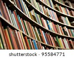 bookshelf in library with many... | Shutterstock . vector #95584771