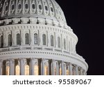 Stock photo us capitol building dome details at night washington dc united states 95589067
