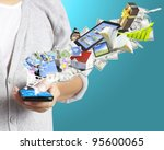 mobile phone in the hand | Shutterstock . vector #95600065