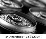 top part of beer cans  close up ...