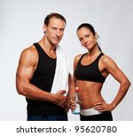 athletic man and woman after... | Shutterstock . vector #95620780