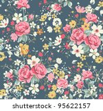 Wallpaper Vintage Rose Pattern...