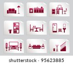 red home interior design icons... | Shutterstock .eps vector #95623885