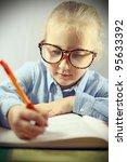 schoolgirl with big glasses... | Shutterstock . vector #95633392