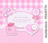 pink background with scrapbook...   Shutterstock .eps vector #95635774