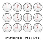 an image of 12 clocks with... | Shutterstock . vector #95644786