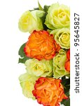 Orange and green roses bouquet. Isolated on white background - stock photo