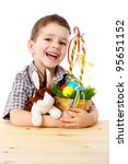 smiling boy with easter eggs... | Shutterstock . vector #95651152
