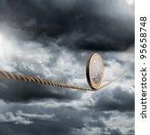 euro coin balancing on a... | Shutterstock . vector #95658748