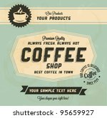 Stock vector retro vintage coffee background with typography 95659927