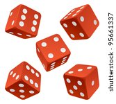 Vector Rolling Red Dice Set...