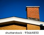 the gable of a brick house with ... | Shutterstock . vector #95664850