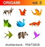 origami animals logo template...
